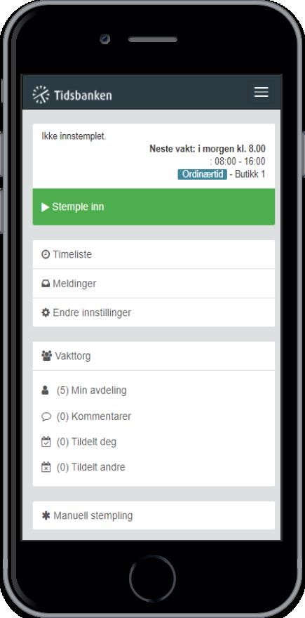 Få tilgang til Tidsbanken via smartphone eller ipad